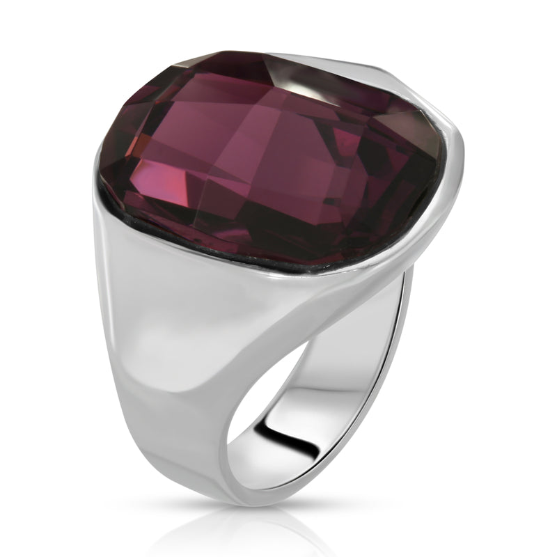 The W Brothers Premium Grade A 925 Sterling Silver Void Ring. The Void Ring fashions an ever-shining dark magenta Swarovski crystal, perfect for a fashionable statement for men and women's jewelry accessory. Available at www.thewbros.com