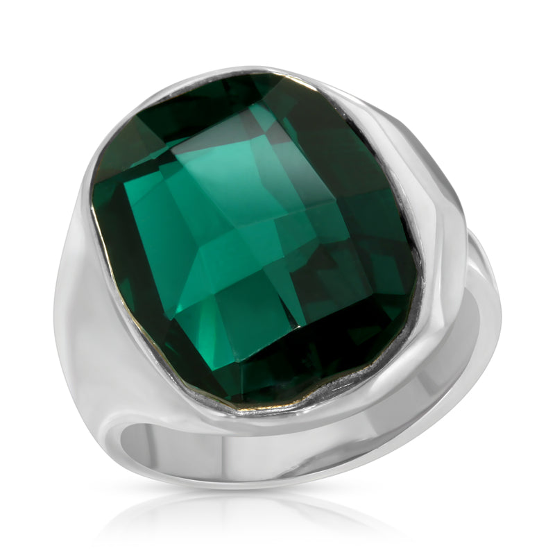 The W Brothers Premium Grade A 925 Sterling Silver Gaia Ring. The Gaia Ring displays an ever-shining green Swarovski crystal, perfect for a fashionable statement for men and women's jewelry accessory. Available at www.thewbros.com