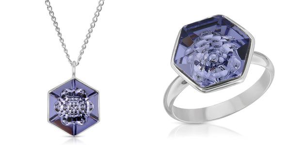 The W Brothers 14 mm and 18 mm Hexagon Tanzanite Purple Swarovski Pendant Necklace and Ring in Silver for girls, women, men , and male. Elegant Bundle Package Set Deal available only at www.thewbros.com