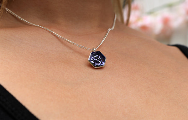 Tanzanite Hexagon Swarovski Pendant (14 mm) - The W Brothers