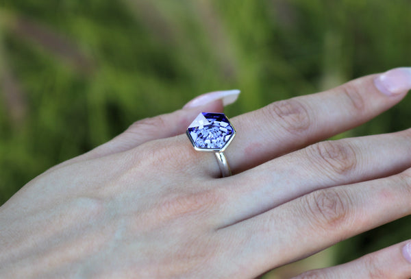 Tanzanite Swarovski Hexagon Ring (14 mm) - The W Brothers