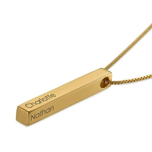 The W Brothers Custom 3-D Bar Necklace in Silver, Gold, Rose Gold with engraving, lettering, fonts, names, for women and men.