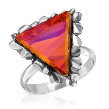 The W Brothers Trinity Fire Opal Swarovski Crystal Ring made in 925 Sterling Silver, made for women, female, and men.