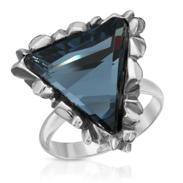 The W Brothers Trinity blue Sapphire Swarovski Ring, set in a triangular crystal shape design. Hand-crafted with the highest premium A Grade 925 Sterling silver, perfect for a fashionable statement ring, designed for comfort and for women.