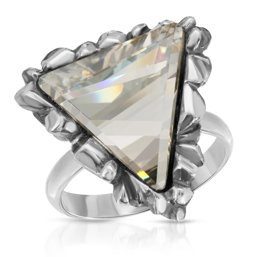 The W Brothers Trinity White Diamond Clear Swarovski Ring made with tri-toned Swarovski Crystals in 925 Sterling Silver, perfect for female and male.