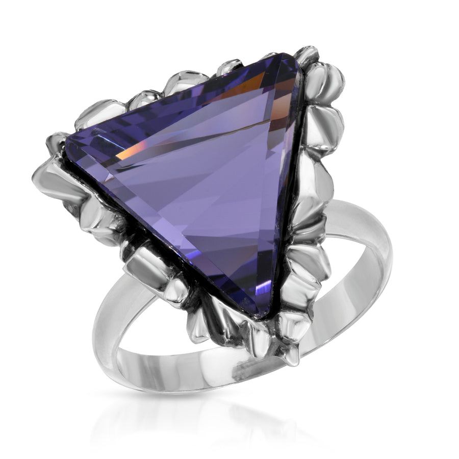 The W Brothers Trinity Dark Sapphire Swarovski Ring made with tri-toned Swarovski Crystals in 925 Sterling Silver, perfect for female and male.