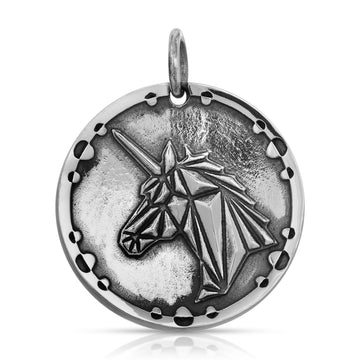 Geometric Unicorn Pendant necklace sterling silver by The W Brothers
