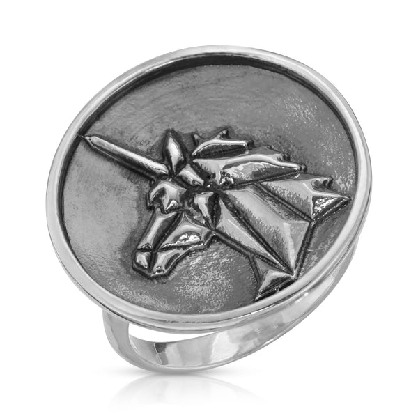 The W Brothers Premium Grade A 925 Sterling Silver Geometric Unicorn Ring, perfect for a fashionable statement for men and women's jewelry accessory. Available at www.thewbros.com