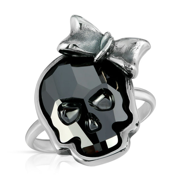 The W brothers Swarovski Skull Ring in chrome black with a gorgeous silver ribbon crafted from premium Grade A Sterling Silver. Perfect jewelry accessory ring for fashionable statement women. Available at www.thewbros.com