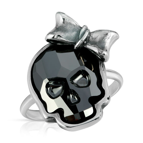 Chrome Black Ribbon Skull Ring