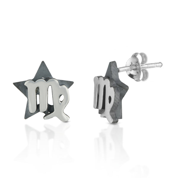 The W Brothers hand-crafted premium 925 Sterling silver star-sign stud earrings crafted in the highest quality of sterling silver with an oxidized star sign in the back with the beautiful virgo air sign horoscope zodiac symbol projecting on the front. Available in premium sterling silver, real 18k yellow gold & rose gold. Shop your original look only at thewbros.com