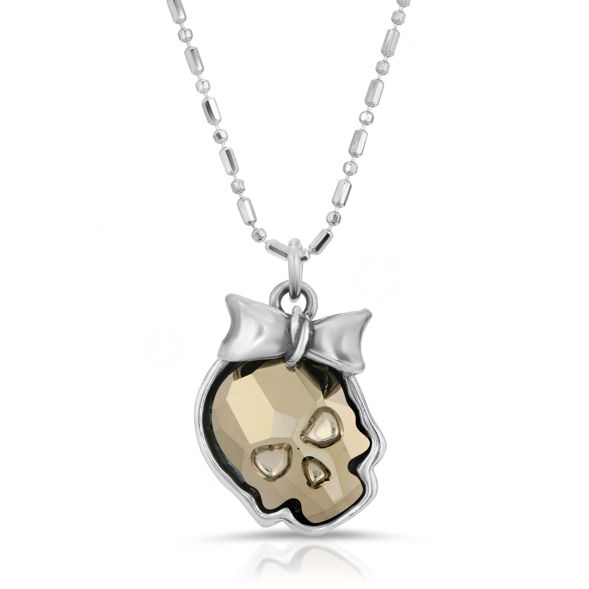 The W brothers Swarovski Skull Necklace in metallic gold with a gorgeous silver ribbon crafted from premium Grade A Sterling Silver. Perfect jewelry accessory necklace for fashionable statement women. Available at www.thewbros.com