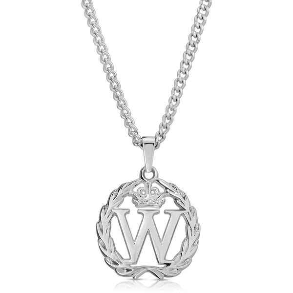 The W Brothers Customized Custom 2020 Giveaway The Winner's Pendant Necklace Stainless Steel Silver Rhodium Plating paired with a silver micro-cuban chain for a classy elegant look. This giveaway is partnering with big name rappers Lil Baby, BhadBhabie, Lil Mosey, & other HipHop Rappers. Shop yours at TheWBros.com