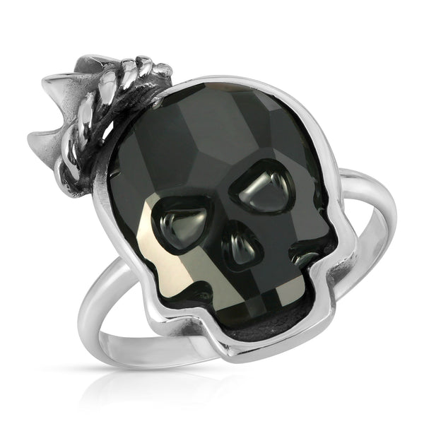 The W brothers Swarovski Skull Ring in jet black with a gorgeous silver crown crafted from premium Grade A Sterling Silver. Perfect jewelry accessory ring for fashionable statement women. Available at www.thewbros.com