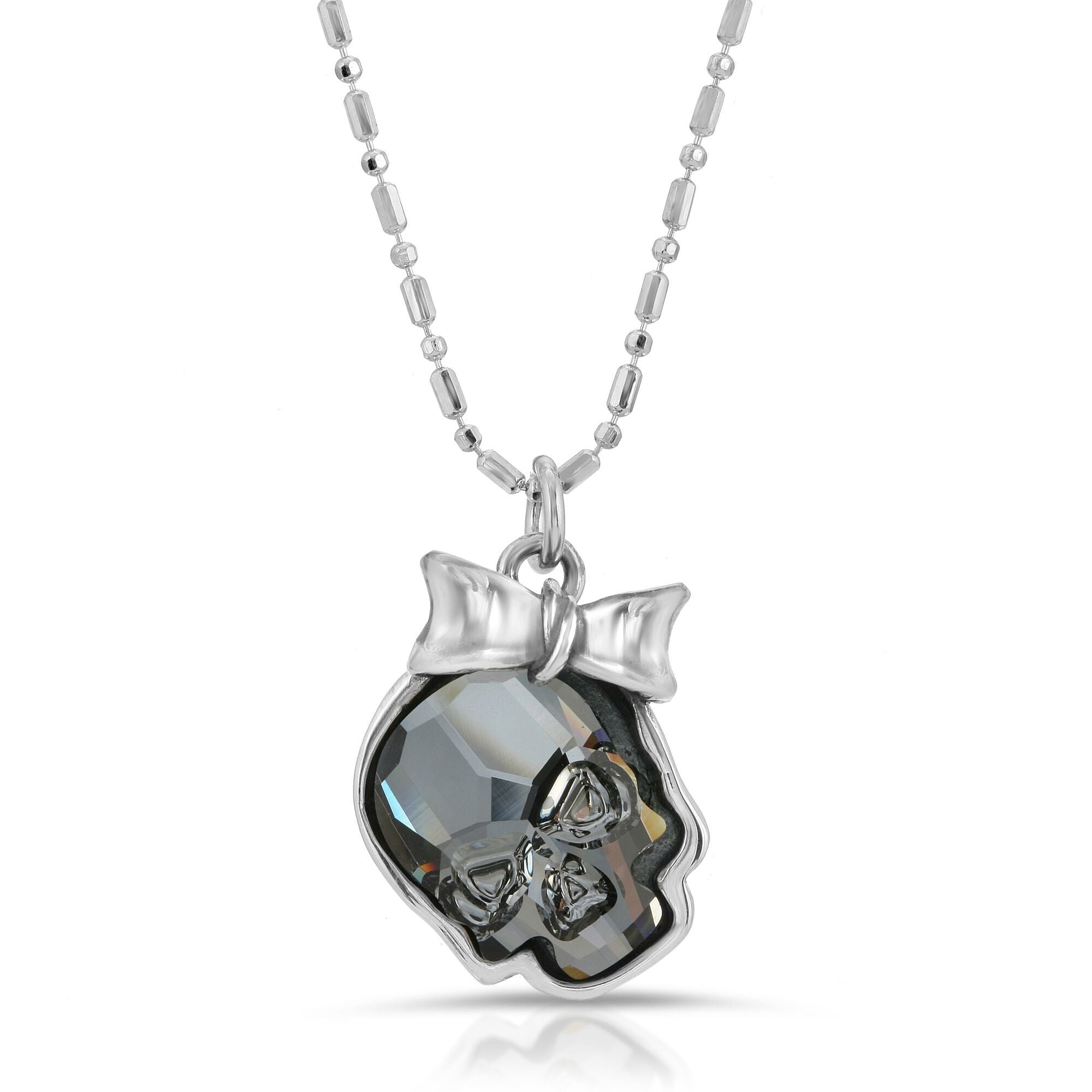 The W brothers Swarovski Skull Necklace in clear black with a gorgeous silver ribbon crafted from premium Grade A Sterling Silver. Perfect jewelry accessory necklace for fashionable statement women. Available at www.thewbros.com