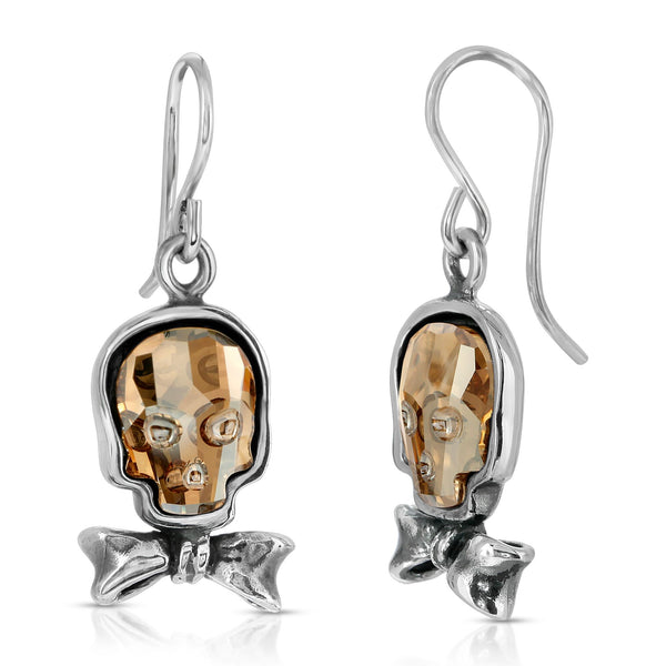 Clear Gold Bowtie Skull Earrings