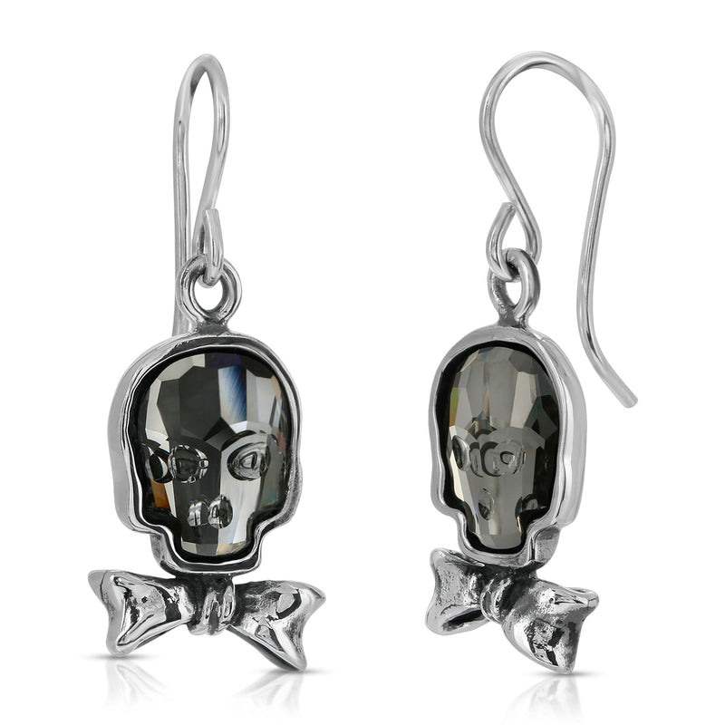 The W brothers Swarovski Skull Earrings in clear black with a gorgeous silver bowtie crafted from premium Grade A Sterling Silver. Perfect jewelry accessory earrings for fashionable statement women. Available at www.thewbros.com