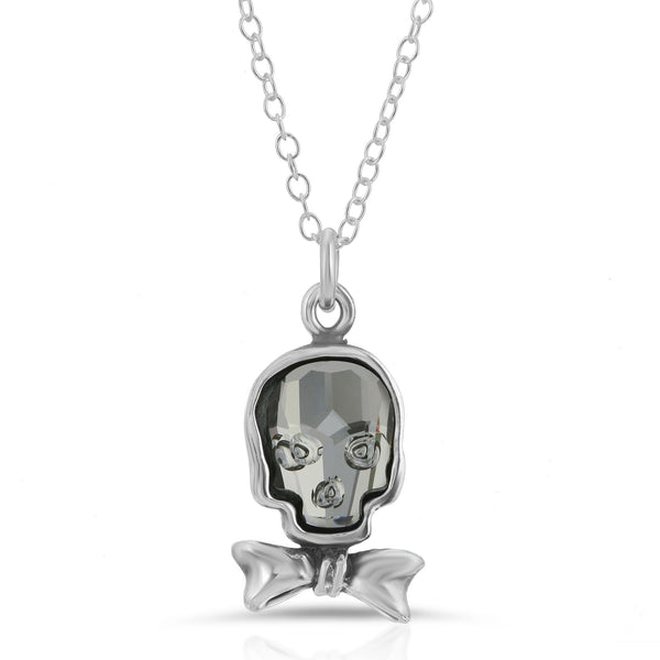 The W brothers Swarovski Skull Necklace in clear black with a gorgeous silver bowtie crafted from premium Grade A Sterling Silver. Perfect jewelry accessory necklace for fashionable statement women. Available at www.thewbros.com