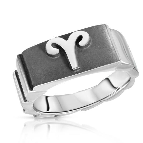 The W Brothers Premium Grade A 925 Sterling Silver Aries Horoscope Zodiac Ring, perfect for a fashionable statement for men and women's jewelry accessory. Available in silver, gold, rose gold at www.thewbros.com.