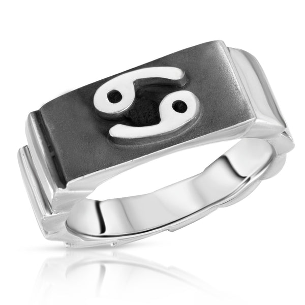 The W Brothers Premium Grade A 925 Sterling Silver Cancer Horoscope Zodiac Ring, perfect for a fashionable statement for men and women's jewelry accessory. Available in silver, gold, rose gold at www.thewbros.com.