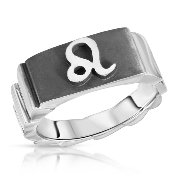 The W Brothers Premium Grade A 925 Sterling Silver Leo Horoscope Zodiac Ring, perfect for a fashionable statement for men and women's jewelry accessory. Available in silver, gold, rose gold at www.thewbros.com.