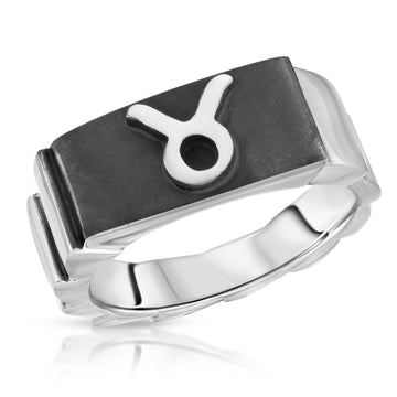 The W Brothers Taurus Zodiac Horoscope Ring made of premium 925 Sterling Silver, perfect for men and women fashion statements.