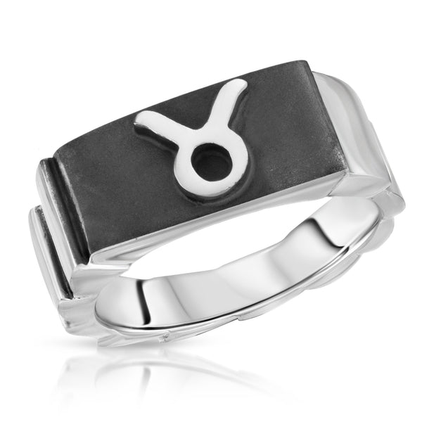 The W Brothers Premium Grade A 925 Sterling Silver Taurus Horoscope Zodiac Ring, perfect for a fashionable statement for men and women's jewelry accessory. Available in silver, gold, rose gold at www.thewbros.com.