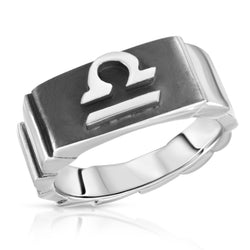The W Brothers Premium Grade A 925 Sterling Silver Libra Horoscope Zodiac Ring, perfect for a fashionable statement for men and women's jewelry accessory. Available in silver, gold, rose gold at www.thewbros.com