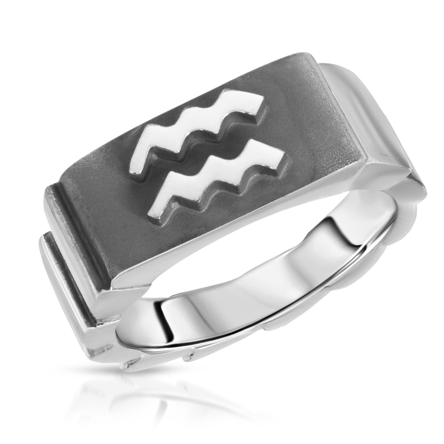 The W Brothers Aquarius Zodiac Ring custom horoscope ring rings made with 925 sterling silver, custom horoscope jewelry zodiac jewelry. Aquarius ring high end fashion men women jewelry