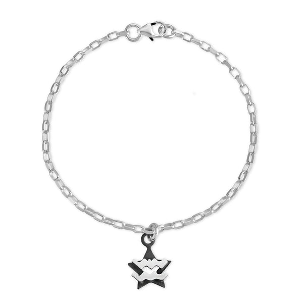 The W Brothers Sterling silver zodiac horoscope Aquarius charm bracelet crafted to perfection in premium 925 Sterling silver, available in silver, real 18k gold or rose gold layering. Shop your star-signs at thewbros.com zodiac aquarius charm bracelet sterling silver jewelry the w bros