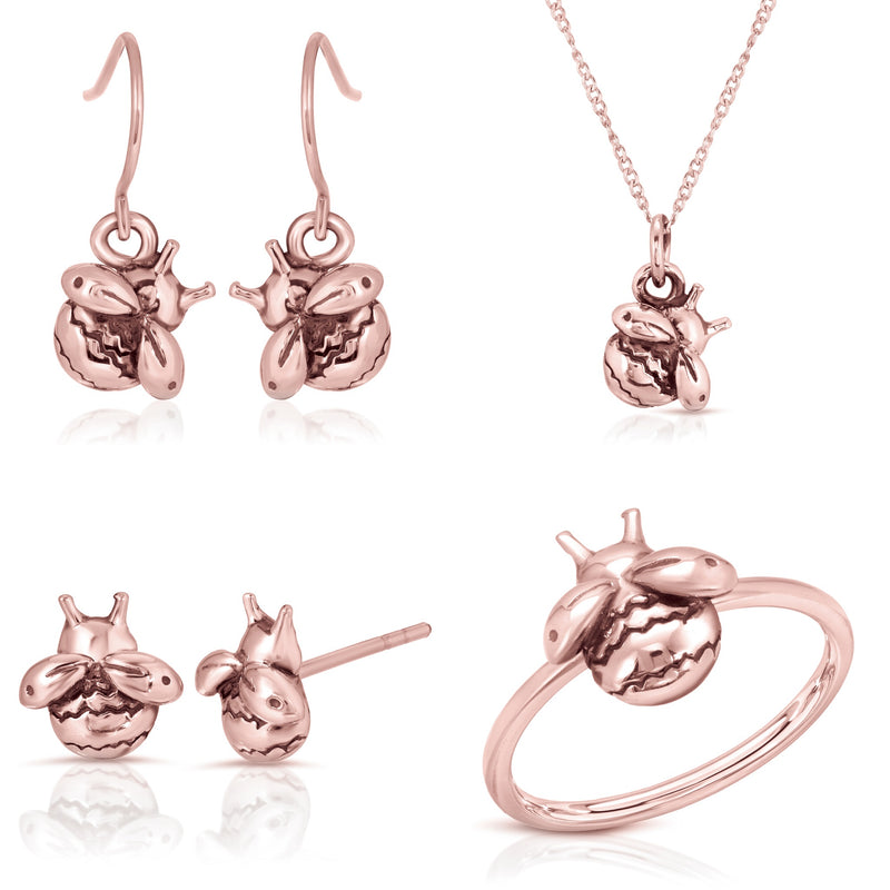 The W Brothers bundle set bumblebee earrings necklace ring Real 14k rose gold layer, 925 sterling silver a grade silver, complete bundle 3 piece set bee 14k real rose gold jewelry set earring rings necklaces stackable jewelry thewbros