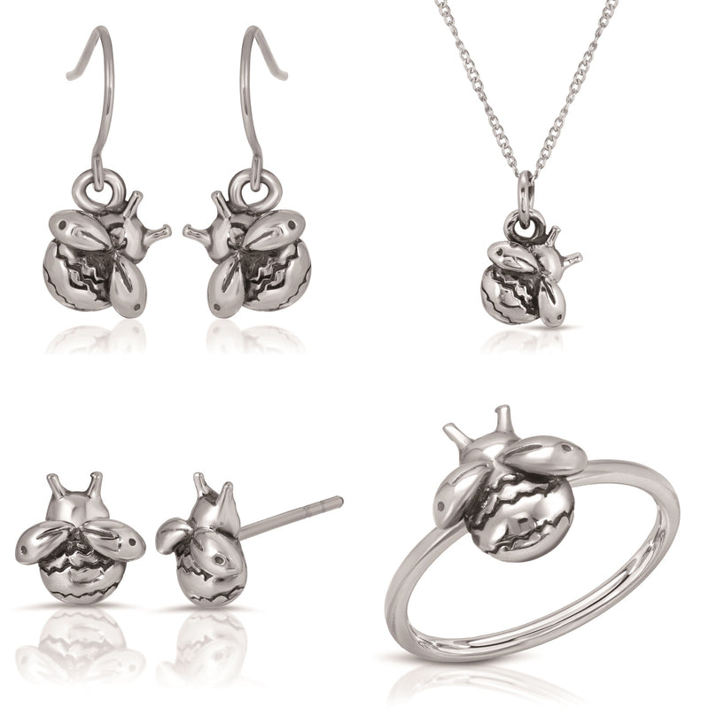 The W Brothers bundle set bumblebee earrings necklace ring 925 sterling silver a grade silver, complete bundle 3 piece set bee jewelry set earring rings necklaces stackable jewelry thewbros