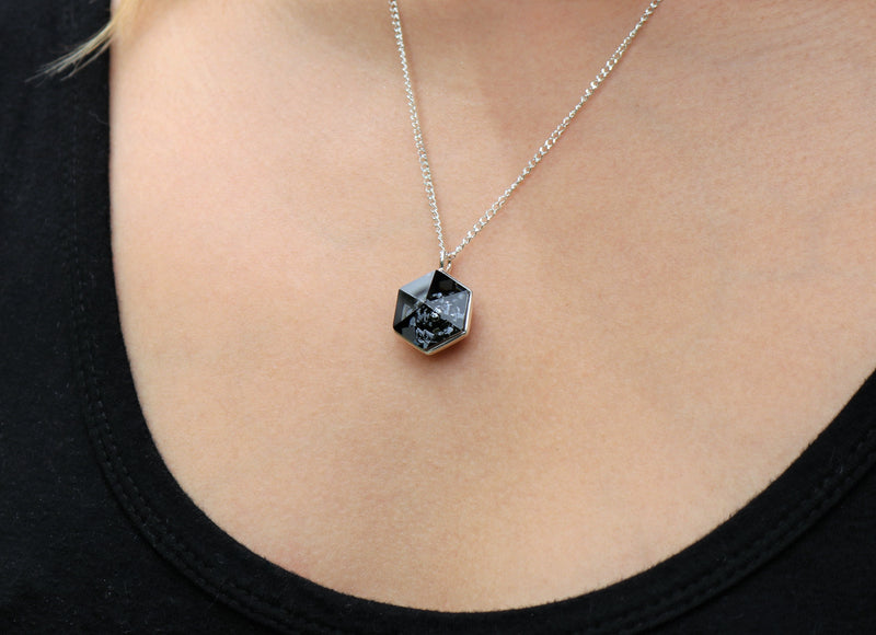 The W Brothers Premium Grade A 925 Sterling Silver Black Hexagon Swarovski Pendant, perfect for a fashionable statement for men and women's jewelry accessory. Available at www.thewbros.com