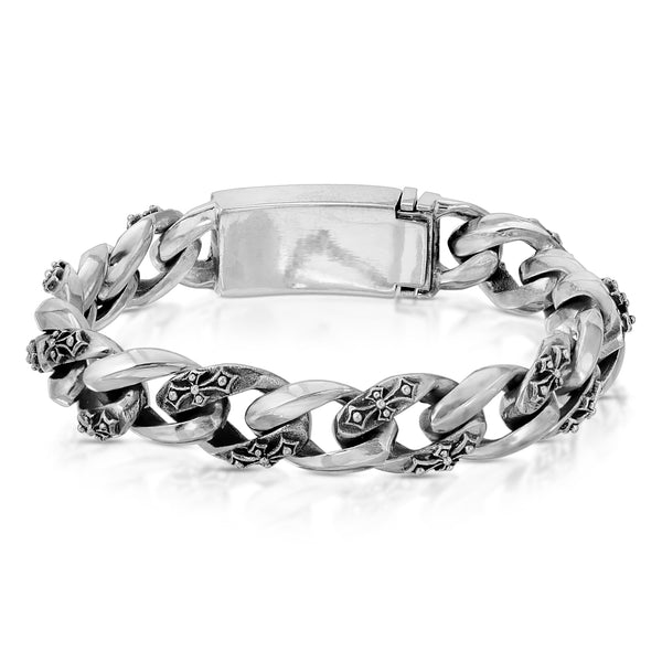 Fleur De Lis Cross Curb Silver Bracelet - The W Brothers