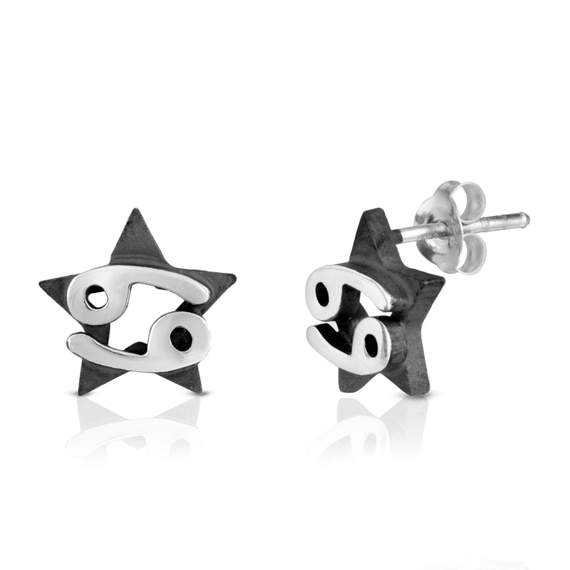 The W Brothers hand-crafted premium 925 Sterling silver star-sign stud earrings crafted in the highest quality of sterling silver with an oxidized star sign in the back with the beautiful cancer horoscope zodiac water symbol projecting on the front. Available in premium sterling silver, real 18k yellow gold & rose gold. Shop your original look only at thewbros.com