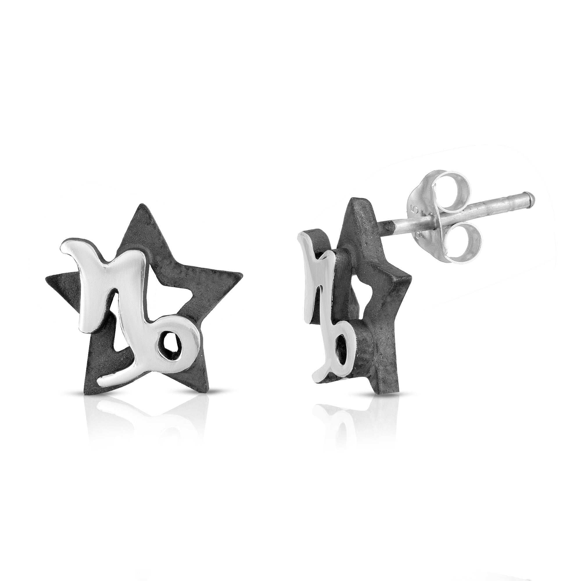 The W Brothers hand-crafted premium 925 Sterling silver star-sign stud earrings crafted in the highest quality of sterling silver with an oxidized star sign in the back with the beautiful Capricorn zodiac horoscope sign symbol projecting on the front. Available in premium sterling silver, real 18k yellow gold & rose gold. Shop your original look only at thewbros.com