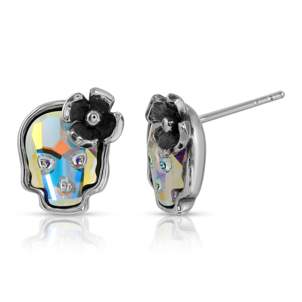 The W brothers Swarovski Skull Stud Earrings in opal with a gorgeous silver flower crafted from premium Grade A Sterling Silver. Perfect jewelry accessory stud earrings for fashionable statement women. Available at www.thewbros.com