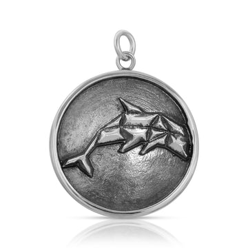Mini Geometric Dolphin Pendant necklace sterling silver by The W Brothers