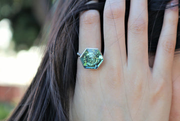 The W Brothers Hexagon Swarovski crystal Green Erenite Ring for women and men in Silver.