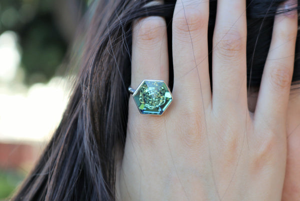 Erenite Swarovski Hexagon Ring (18 mm) - The W Brothers