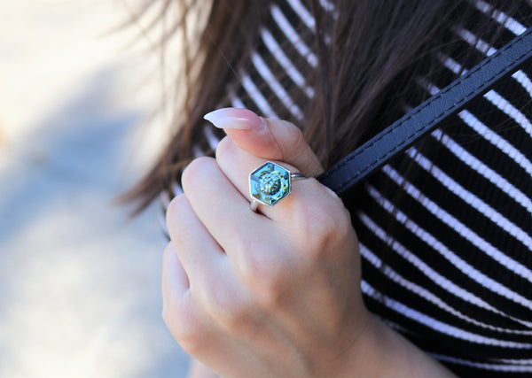 Erenite Hexagon Swarovski Ring (14 mm) - The W Brothers