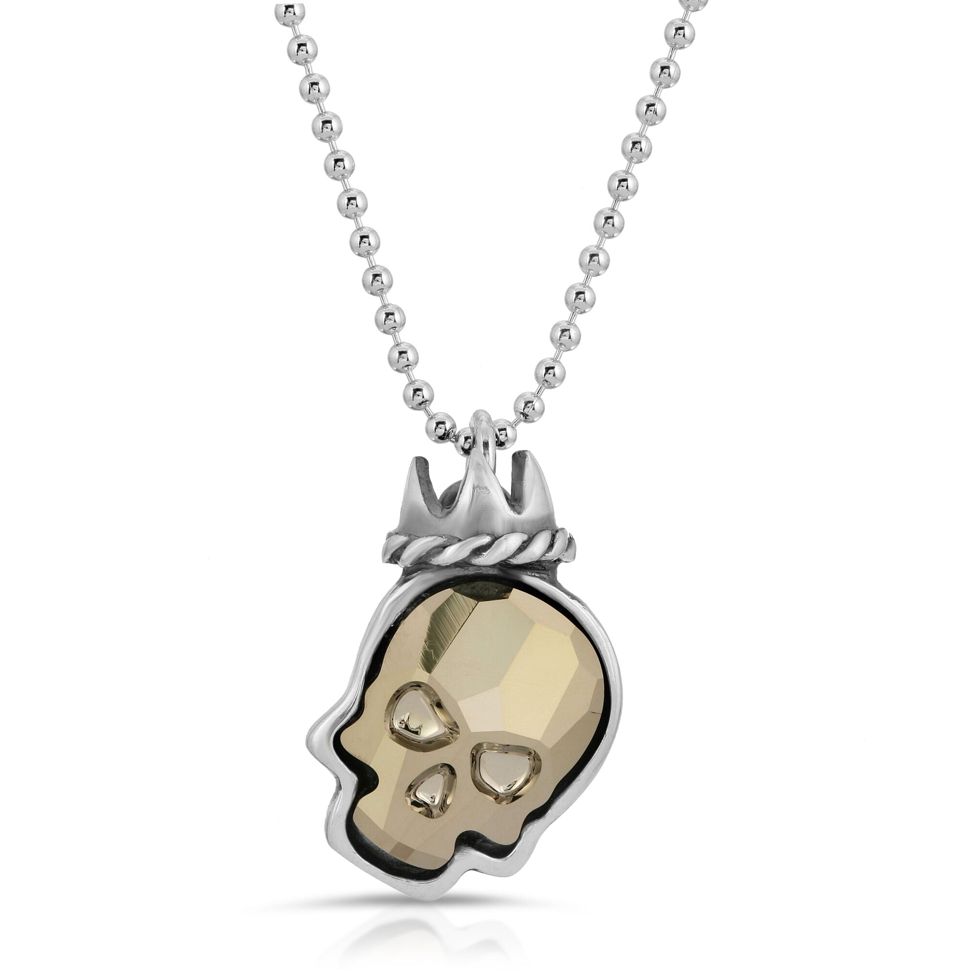 The W brothers Swarovski Skull Necklace in metallic gold with a gorgeous silver crown crafted from premium Grade A Sterling Silver. Perfect jewelry accessory necklace for fashionable statement women. Available at www.thewbros.com