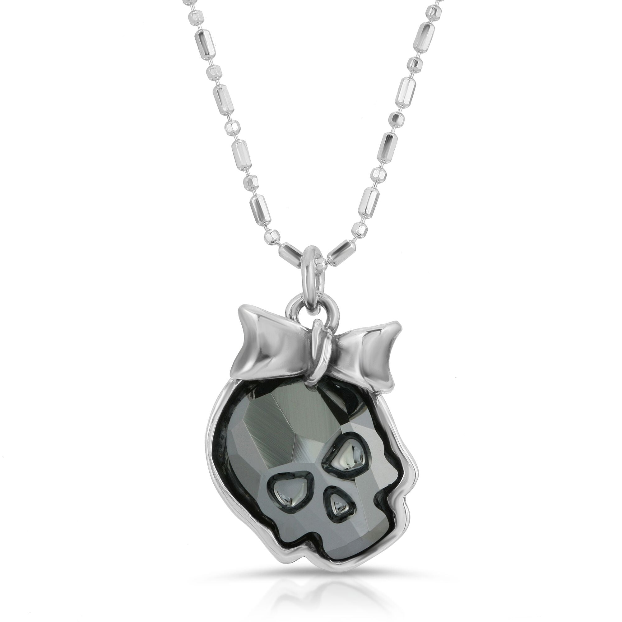 The W brothers Swarovski Skull Necklace in chrome black with a gorgeous silver ribbon crafted from premium Grade A Sterling Silver. Perfect jewelry accessory necklace for fashionable statement women. Available at www.thewbros.com
