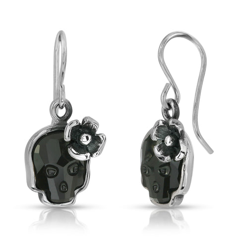 Jet Flower Skull Earrings