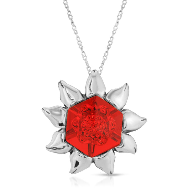 The W Brothers Red Siam Swarovski Flower Pendant Necklace crafted from premium Grade A Sterling Silver and set with tri-toned swarovski crystals in a beautiful flower design hand-crafted for a female's outfit.