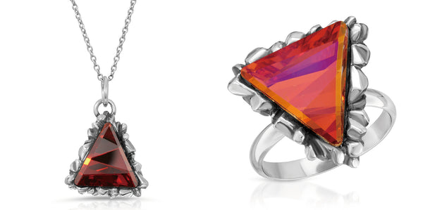 Ruby Trinity pendant fire opal swarovski crystal ring bundle package set-thewbrothers thewbros swarovski crystal collection trinity triangle pendant necklace ring women jewelry accessories set -the w brothers