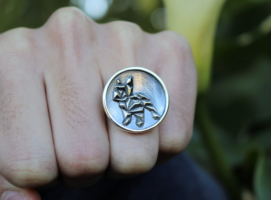 Geometric French Bull Dog Ring