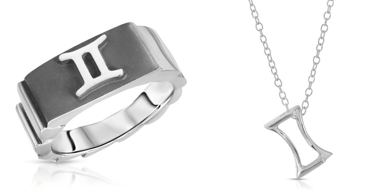 The W Brothers Gemini horoscope ring and gemini horoscope necklace pendant in silver, Gemini zodiac sign jewelry ring, made with 925 sterling silver with 14k gold 14k rose gold plated finish. Custom zodiac rings jewelry high end fashion rings gemini horoscope jewelry ring