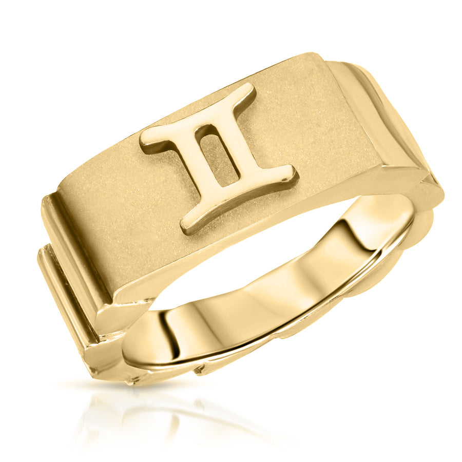 The W Brothers Gemini horoscope ring, Gemini zodiac sign jewelry ring, made with 925 sterling silver with 14k gold 14k rose gold plated finish. Custom zodiac rings jewelry high end fashion rings gemini horoscope jewelry ring