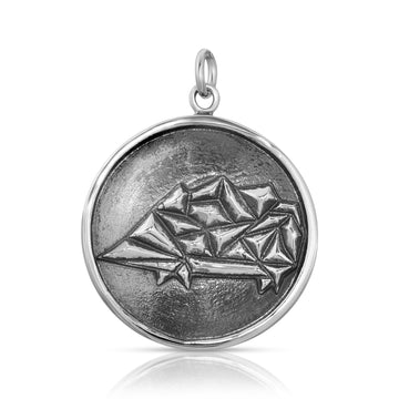 Mini Geometric Hedgehog Pendant necklace sterling silver by The W Brothers